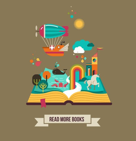 magic book: Open book with fairy tale elements and  icons