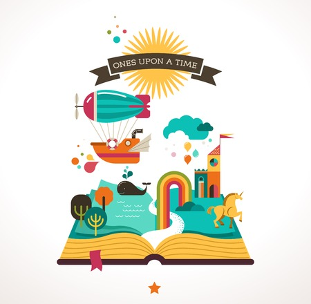 story: Open book with fairy tale elements and  icons