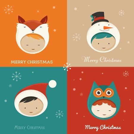 Set of cute Xmas Cards Vector