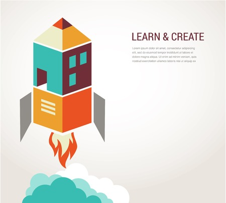 home school: Education rocket, online learning and concept infographic