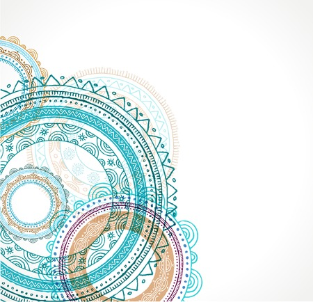 Tribal, Bohemian Mandala background with round ornament. Hand drawn vector illustration