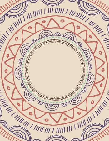 Tribal, Bohemian Mandala background with round ornament. Hand drawn vector illustration Vector