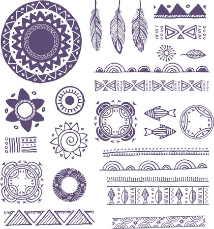 spiritual background: Tribal, Bohemian Mandala background with round ornaments, patterns and elements. Hand drawn vector illustration Illustration