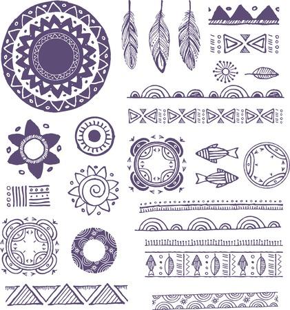 mehendi: Tribal, Bohemian Mandala background with round ornaments, patterns and elements. Hand drawn vector illustration Illustration