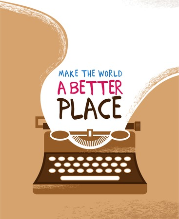 Vintage typewriter poster with a place for text Illustration