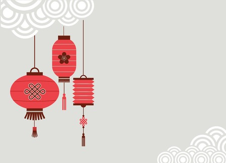chinese border: Chinese New Year background with lanterns - vector illustration