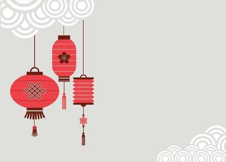 Cinese Capodanno sfondo con lanterne - illustrazione vettoriale Archivio Fotografico - 34979679