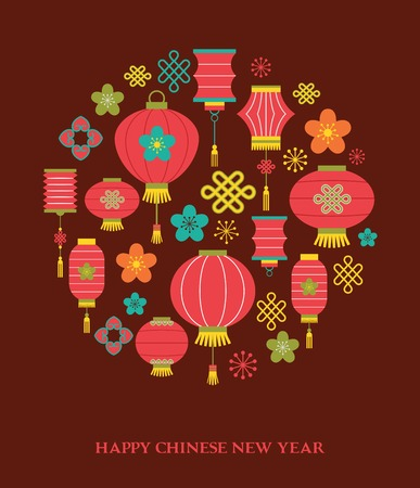 lantern festival: Chinese New Year background with lanterns - vector illustration