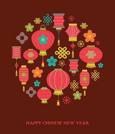 nouvel an: Chinoise fond du Nouvel An avec des lanternes - illustration vectorielle Illustration