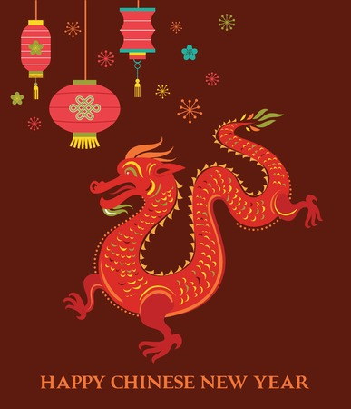 dragon year: Chinese New Year background with red traditional dragon