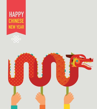 dragon illustration: Chinese New Year background with red traditional dragon