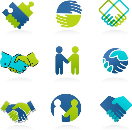 business partnership: Collection of Handshake, partnership icons and elements