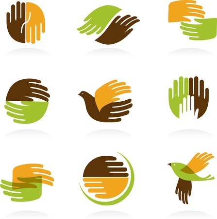 people holding sign: Collection of Hands icons and symbols. Vector illustrations