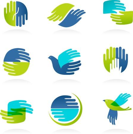 juntos: Colección de manos iconos y símbolos. Ilustraciones vectoriales