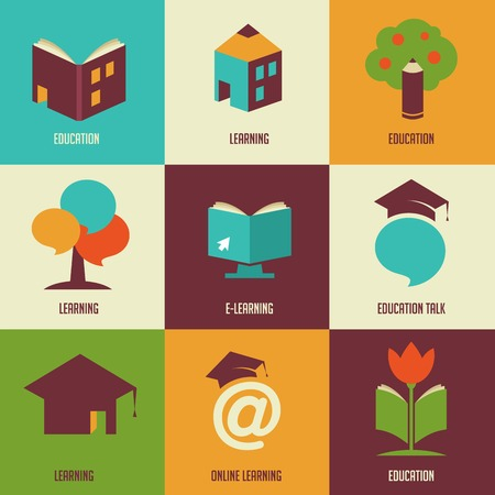 home school: Education icons and symbols, online learning Illustration
