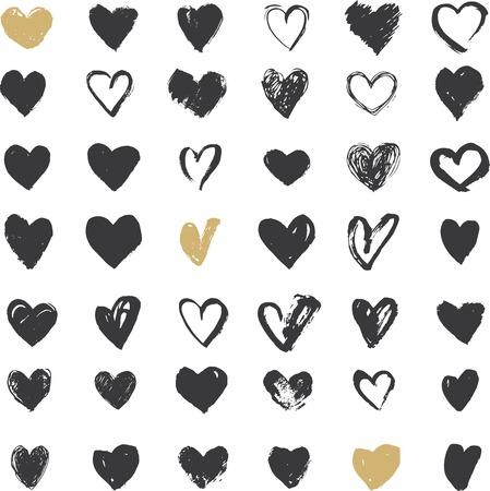 donna innamorata: Icone Cuore Set, mano ioni e illustrazioni per San Valentino disegnata