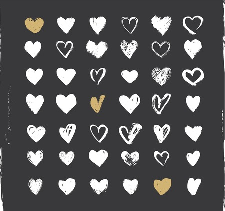 Heart Icons Set, hand drawn ions and illustrations for valentines day Ilustração