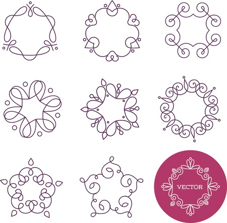 fine arts: Collection of abstract geometrical icons, elements and frames