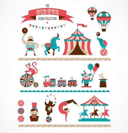 cartoon circus: vintage huge circus collection with carnival, fun fair, vector icons and background