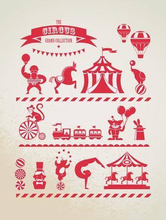fondo de circo: colección enorme circo de época con el carnaval, feria, iconos vectoriales y fondo