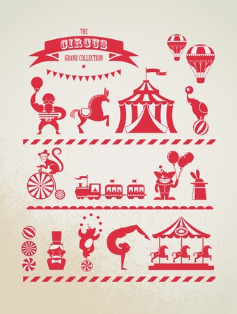 wheels: vintage huge circus collection with carnival, fun fair, vector icons and background