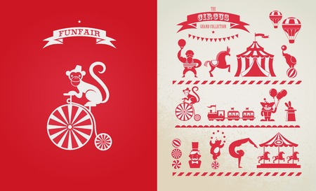 circus animal: vintage poster with carnival, fun fair, circus vector background Illustration