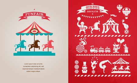 carousel: vintage poster with carnival, fun fair, circus vector background Illustration