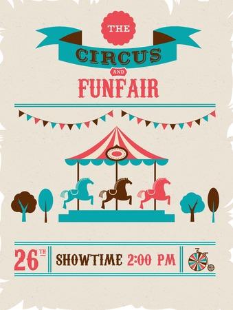 vintage poster with carnival, fun fair, circus vector background Vector