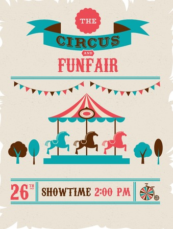 circus performer: vintage poster with carnival, fun fair, circus vector background Illustration