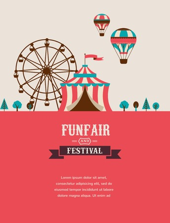 カーニバル、楽しいフェア、サーカスのベクトルの背景とビンテージのポスター  イラスト・ベクター素材