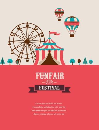 circus bike: cartel de la vendimia con el carnaval, feria, circo de fondo vector Vectores