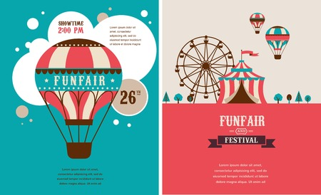 vintage poster with carnival, fun fair, circus vector background Vettoriali