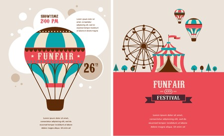 fun fair: vintage poster with carnival, fun fair, circus vector background Illustration