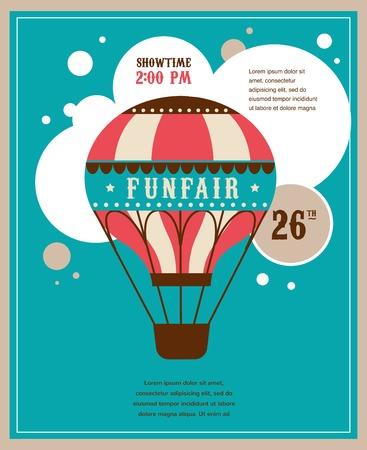 butch: vintage poster with vintage air balloon, fun fair, circus vector background