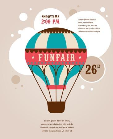 vintage poster with vintage air balloon, fun fair, circus vector background Vector