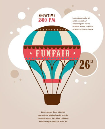 fun fair: vintage poster with vintage air balloon, fun fair, circus vector background