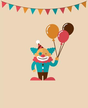 clown cirque: affiche vintage avec clown, carnaval, fête foraine, vecteur de cirque fond Illustration