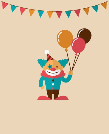 circus animal: vintage poster with clown, carnival, fun fair, circus vector background Illustration