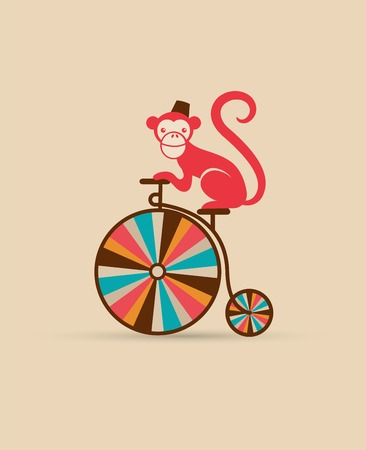 monos: cartel de la vendimia con el mono en monociclo, parque de atracciones, circo de fondo vector