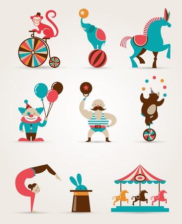 clown cirque: collection de cirque énorme vintage avec le carnaval, fête foraine, icônes vectorielles et le fond