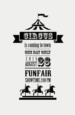 cartel de la vendimia con el carnaval, feria, circo de fondo vector