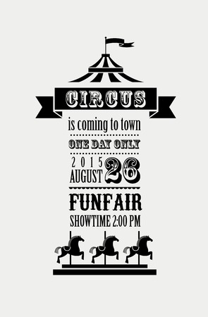 cartoon circus: vintage poster with carnival, fun fair, circus vector background Illustration