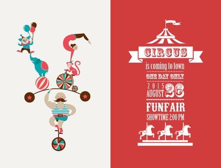 acrobatics: cartel de la vendimia con el carnaval, feria, circo de fondo vector Vectores