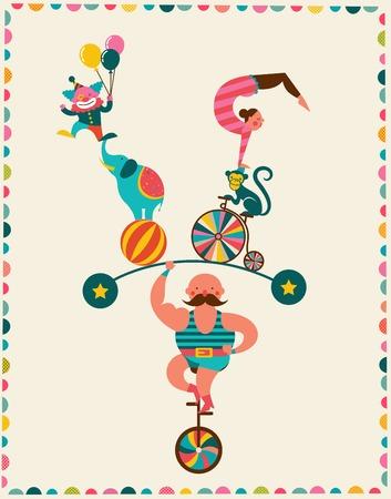 fondo de circo: cartel de la vendimia con el carnaval, feria, circo de fondo vector Vectores