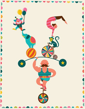 vintage poster with carnival, fun fair, circus vector background Иллюстрация