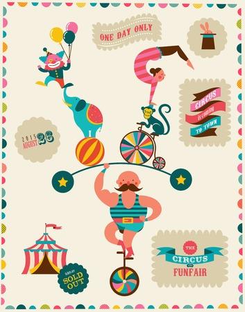 payasos caricatura: cartel de la vendimia con el carnaval, feria, circo de fondo vector Vectores
