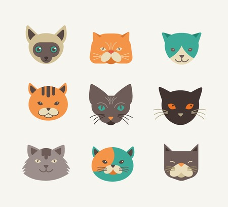 blue siamese cat: Collection of cat vector icons and illustrations