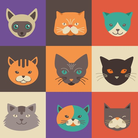 Collection of cat vector icons and illustrations Vector