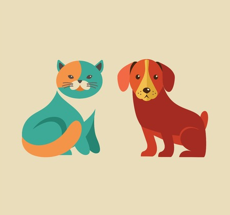 puppy and kitten: Collection of cat and dog vector icons and illustrations Illustration