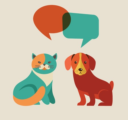speach: Collection of cat and dog with speach bubbles, vector icons and illustrations